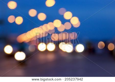 Blurred image for background of bokeh street traffic lights