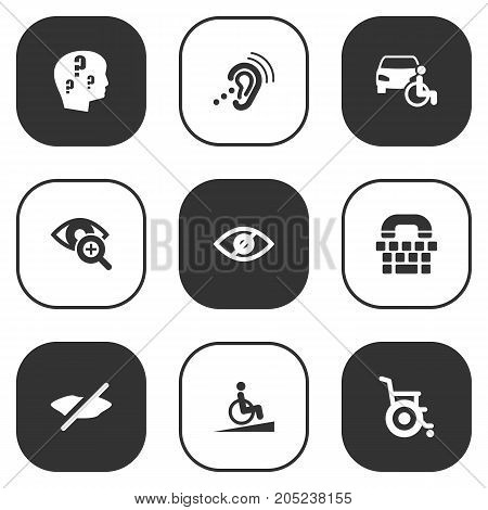Collection Of Ramp, Listening Device, Brain With Question And Other Elements.  Set Of 9 Accessibility Icons Set.