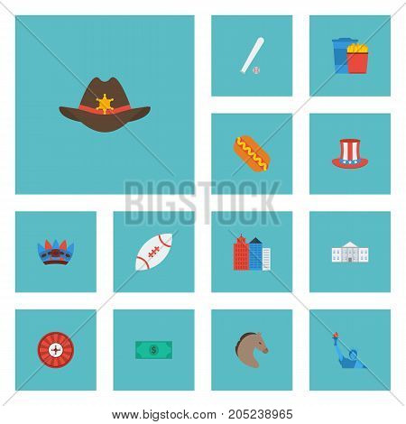 Flat Icons Sausage, Greenback, Snack And Other Vector Elements