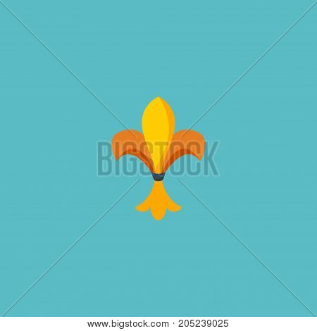 Flat Icon Fleur De Lis Element. Vector Illustration Of Flat Icon Ornament Isolated On Clean Background