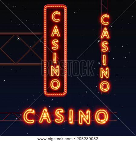 Casino banner text, City signboard, Vector illustration
