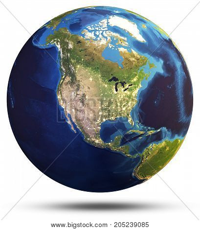 Planet Earth world globe. Elements of this image furnished by NASA. 3d rendering