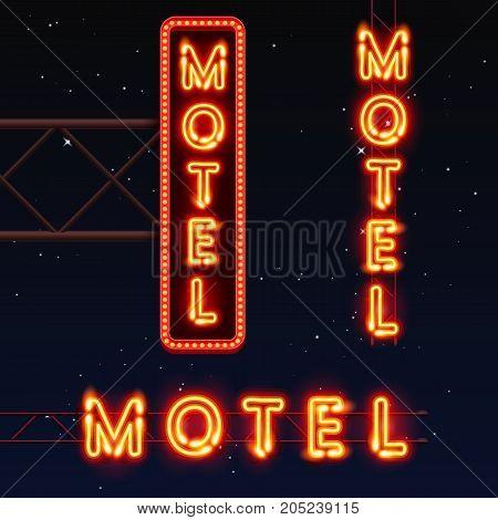 street sign of the motel. Neon motel banner. Vector illustration