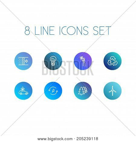 Collection Of Recycling, Wind Turbine, Afforestation And Other Elements.  Set Of 8 Atmosphere Outline Icons Set.