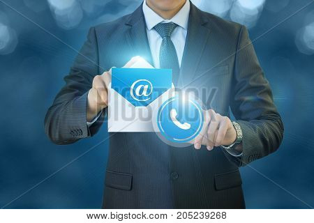 Businessman Clicks On The Contacts Icon .
