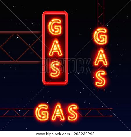 Neon signboard gas text, City signboard, Vector illustration
