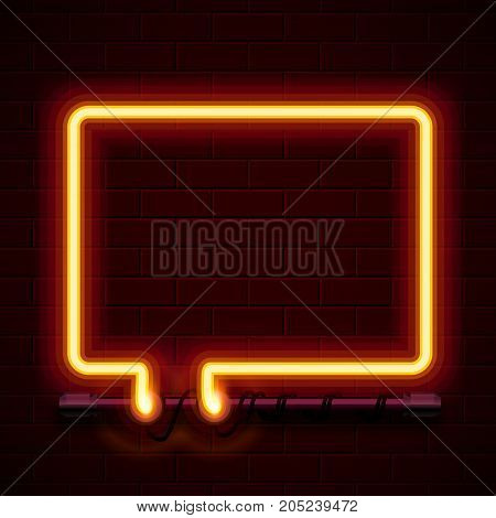 Neon symbol chat color red city signboard. Vector illustration