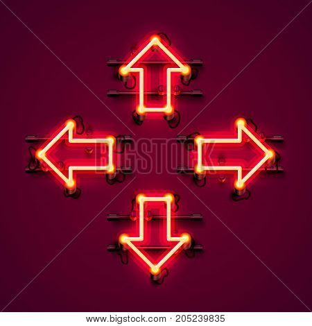 Neon arrow up, down, left and right on the red background. Vector illustration