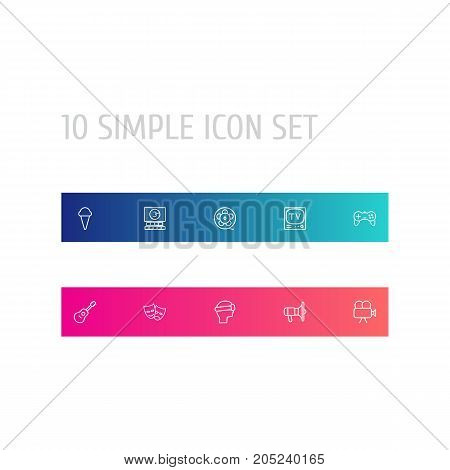 Collection Of Tv Set, Film Role, Vr Helmet And Other Elements.  Set Of 10 Pleasure Outline Icons Set.