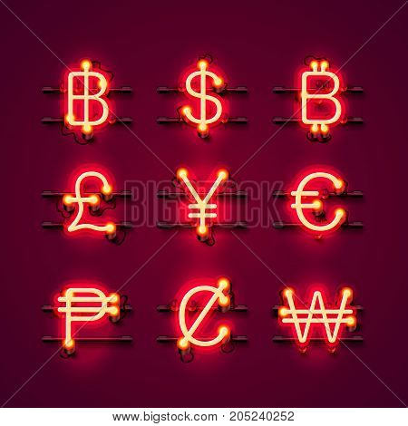 Currency neon symbols set on the red background. Vector illustration