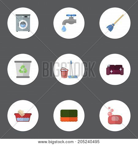 Flat Icons Faucet, Garbage Container, Wisp And Other Vector Elements
