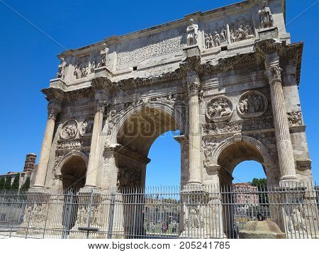 19.06.2017, Rome, Italy, Europe: Famous Arch Of Constantine Over Blue Sky