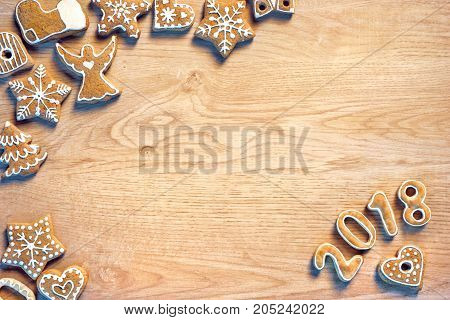 Traditional Christmas cookies on wooden table. Top view. High resolution product. Christmas baking concept