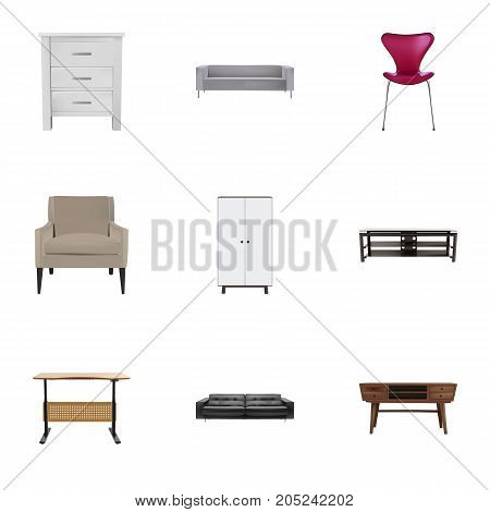 Realistic Worktop, Commode, Divan And Other Vector Elements