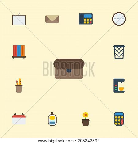 Flat Icons Letter, Pen Holder, Watch And Other Vector Elements