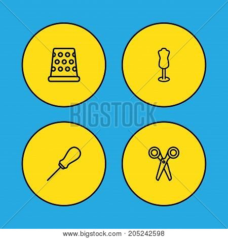 Collection Of Awl, Dummy, Tremble And Other Elements.  Set Of 4 Tailor Outline Icons Set.