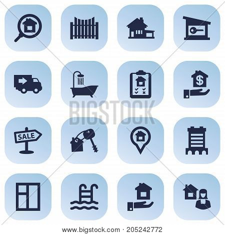 Collection Of Hypothec, Advertisement, Truck And Other Elements.  Set Of 16 Estate Icons Set.