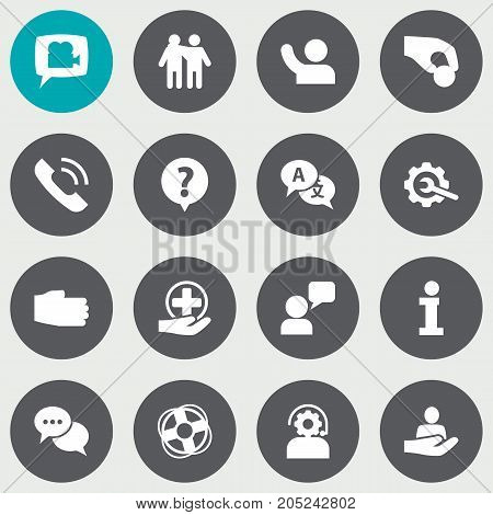 Collection Of Human, Talk, Blog And Other Elements.  Set Of 16 Maintenance Icons Set.