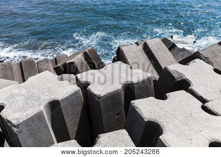 Rough Concrete Blocks As A Part Of Breakwater