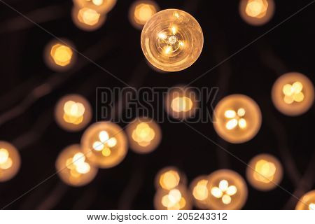 Garland Of Bulb Lamps With Modern Yellow Led