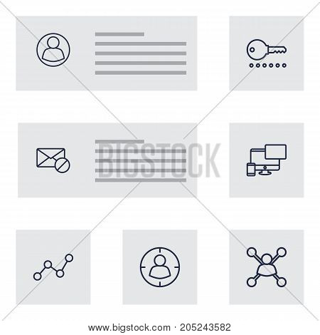Collection Of Web Design, Stock Exchange, Password And Other Elements.  Set Of 7 Optimization Outline Icons Set.