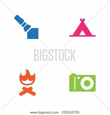Collection Of Photo Camera, Campfire, Tent And Other Elements.  Set Of 4 Picnic Icons Set.