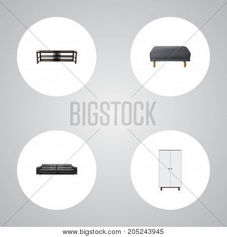 Realistic Footstool, Wardrobe, Furniture And Other Vector Elements