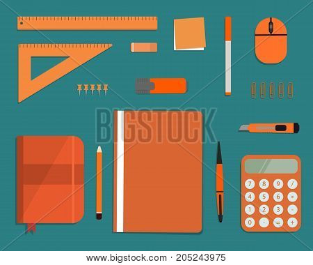 Orange stationery on a green background. Top view of a desk. There is a calculator, a folder, a diary, a ruler, a stationery knife, a marker and other objects in the picture. Vector flat illustration