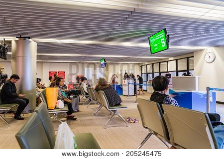 Visitors Waiting For Boarding In Don Muang International Airport Thailand