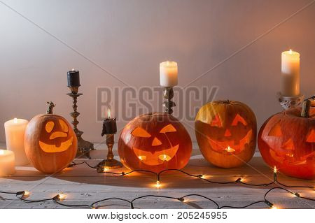 the halloween orange pumpkin on white background