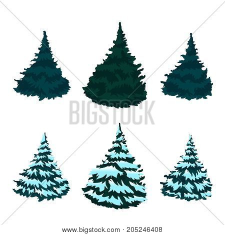 Snow-covered Christmas trees isolated on white background without a shadow. Drawing. Christmas. Winter.