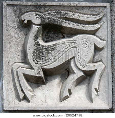 Old Bas-relief Of Fairytale Deer