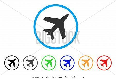Airplane rounded icon. Style is a flat airplane grey symbol inside light blue circle with black, gray, green, blue, red, orange versions. Vector designed for web and software interfaces.