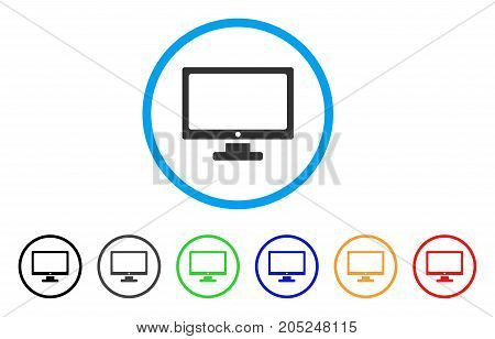 Computer Display rounded icon. Style is a flat computer display grey symbol inside light blue circle with black, gray, green, blue, red, orange color versions.