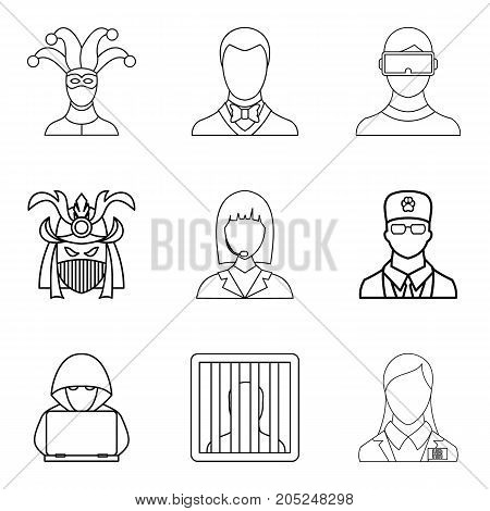 Role icons set. Outline set of 9 role vector icons for web isolated on white background
