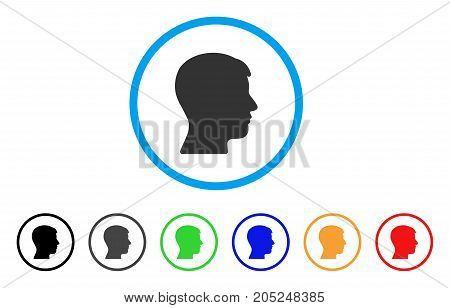 Man Head Profile rounded icon. Style is a flat man head profile gray symbol inside light blue circle with black, gray, green, blue, red, orange variants.