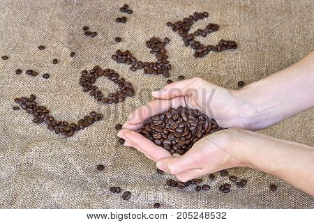 Coffee beans word