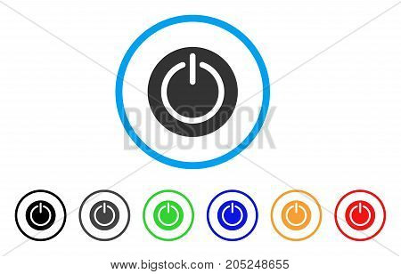 Turn Off Power rounded icon. Style is a flat turn off power gray symbol inside light blue circle with black, gray, green, blue, red, orange versions. Vector designed for web and software interfaces.