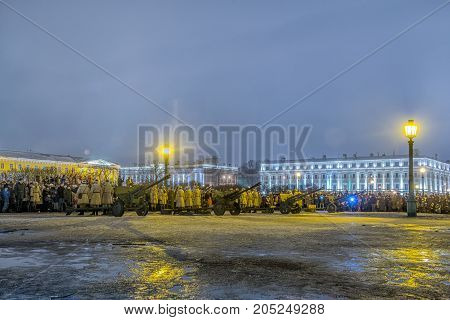 ST. PETERSBURG RUSSIA - January 27.2017: Day of Military Glory of Russia - Day of complete liberation of Leningrad from the fascist blockade (1944)