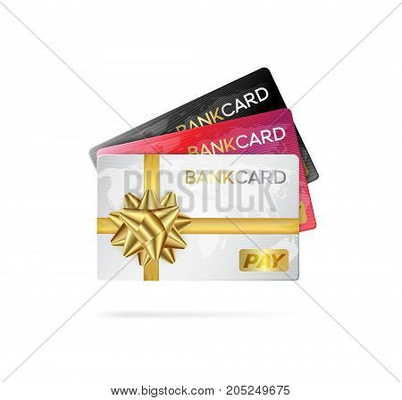 Credit or debit cards with golden ribbon. Gift cards concept.