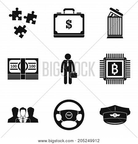 Private industry icons set. Simple set of 9 private industry vector icons for web isolated on white background