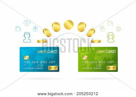 Money transfer or online banking conceptual vector illustration. Process of sending money from one person's bank card to another person's bank card.