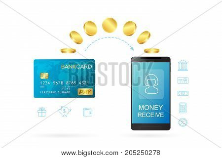 Money transfer or online banking conceptual vector illustration. Process of sending money using online banking