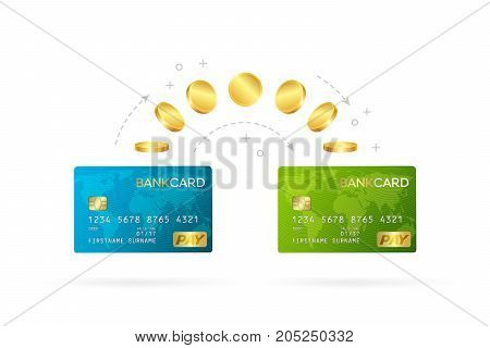 Money transfer or online banking conceptual vector illustration. Process of sending money from one credit card to another.