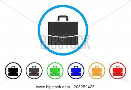 Briefcase rounded icon. Style is a flat briefcase grey symbol inside light blue circle with black, gray, green, blue, red, orange versions. Vector designed for web and software interfaces.