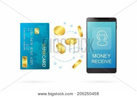 Money transfer or online banking conceptual vector illustration. Process of sending money from one persons bank card to another person using online banking