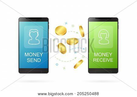 Money transfer or online banking conceptual vector illustration. Process of sending money from one person to another person using mobile banking