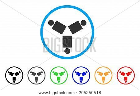 Community rounded icon. Style is a flat community grey symbol inside light blue circle with black, gray, green, blue, red, orange color versions. Vector designed for web and software interfaces.