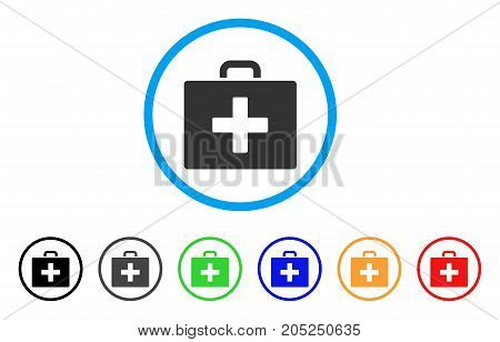 First Aid Bag rounded icon. Style is a flat first aid bag grey symbol inside light blue circle with black, gray, green, blue, red, orange color versions.