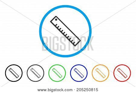 Length Ruler rounded icon. Style is a flat length ruler gray symbol inside light blue circle with black, gray, green, blue, red, orange versions. Vector designed for web and software interfaces.